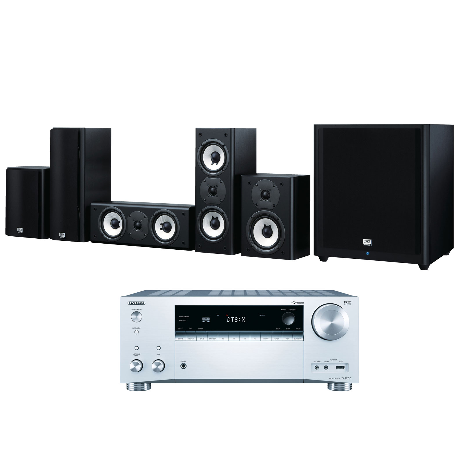 Ensemble home cinéma Onkyo TX-RZ710 Argent + SKS-HT978THX Ampli-tuner Home Cinéma 7.2 - THX - Bluetooth - Wi-Fi - Dolby Atmos - DTS:X - HDCP 2.2 - Hi-Res Audio - 8 entrées HDMI + Pack d'enceintes 5.1 certification THX