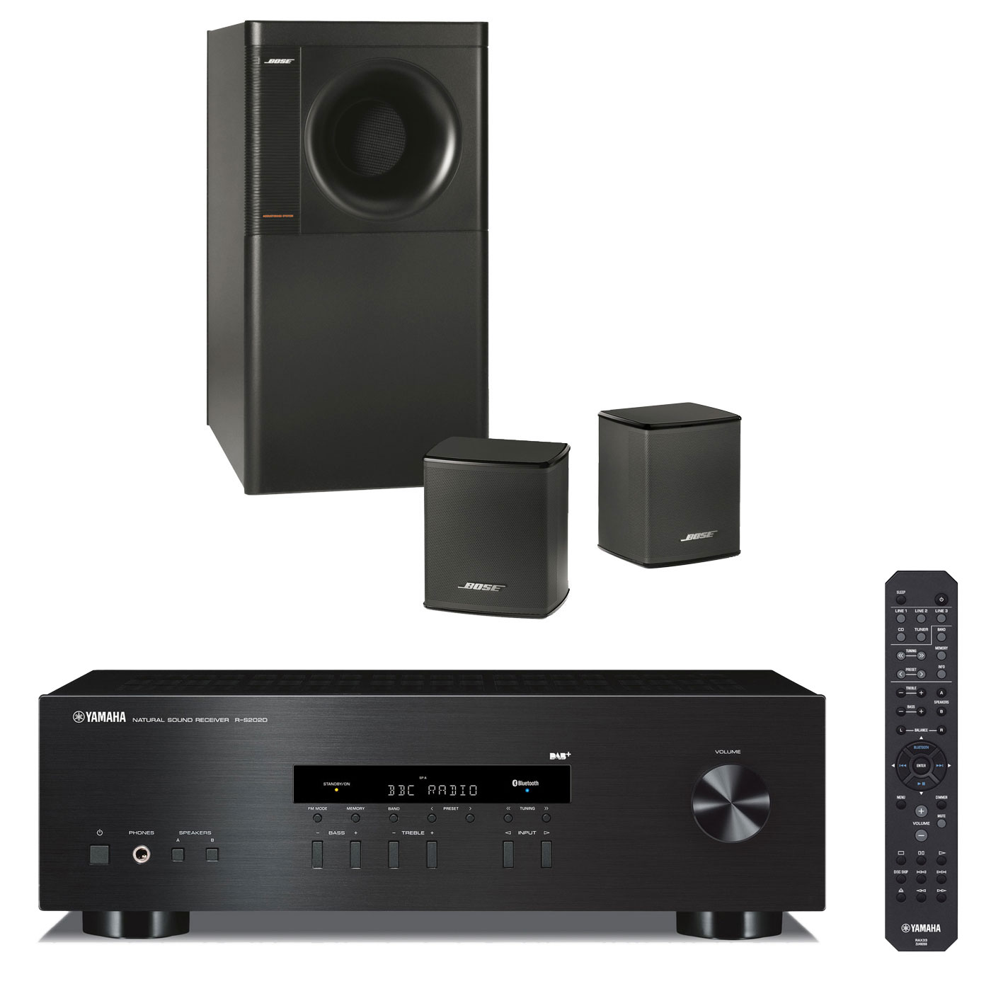 yamaha r s202d noir bose acoustimass 3 series v ensemble hifi yamaha sur. Black Bedroom Furniture Sets. Home Design Ideas