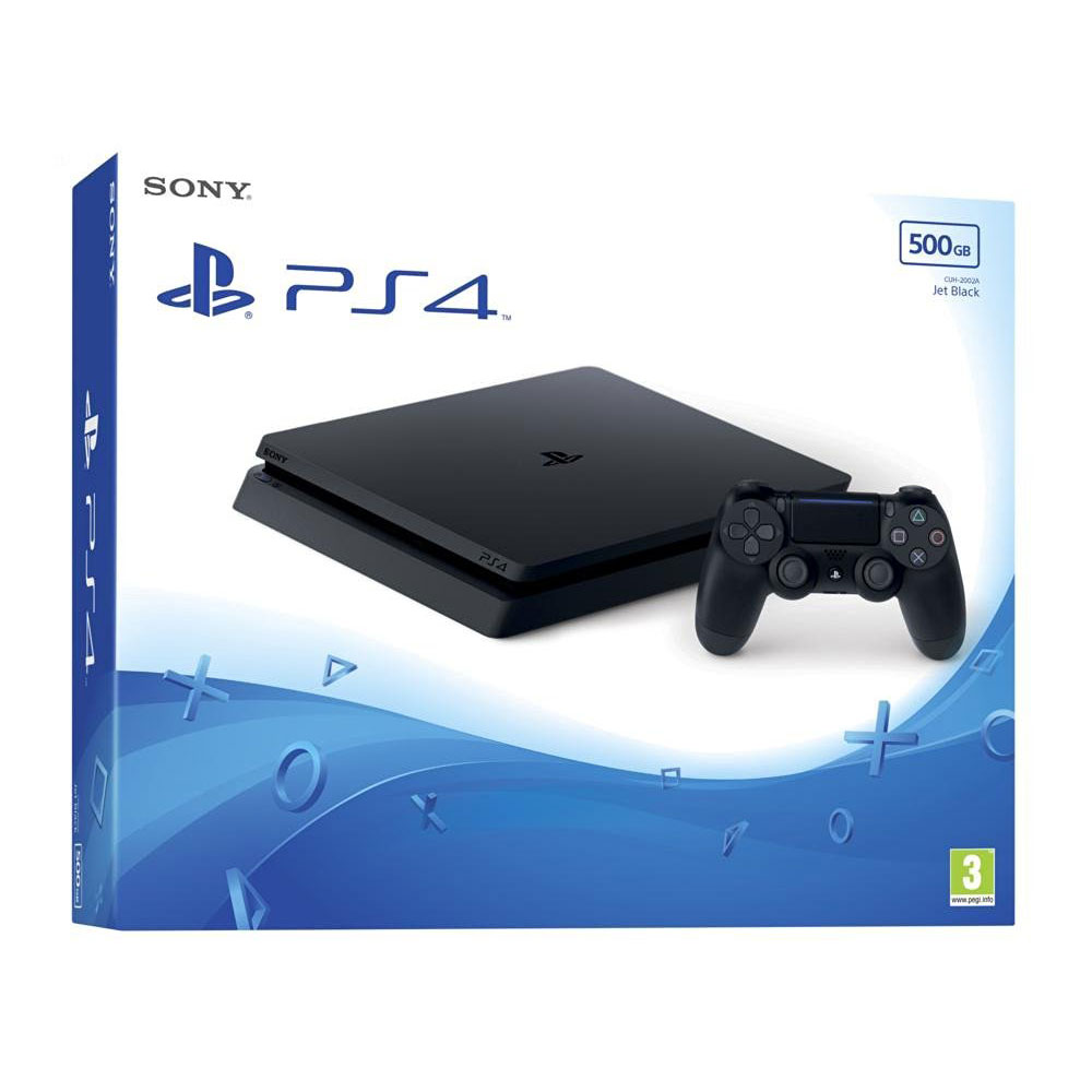 sony playstation 4 slim 500 go jet black console ps4 sony interactive entertainment sur. Black Bedroom Furniture Sets. Home Design Ideas