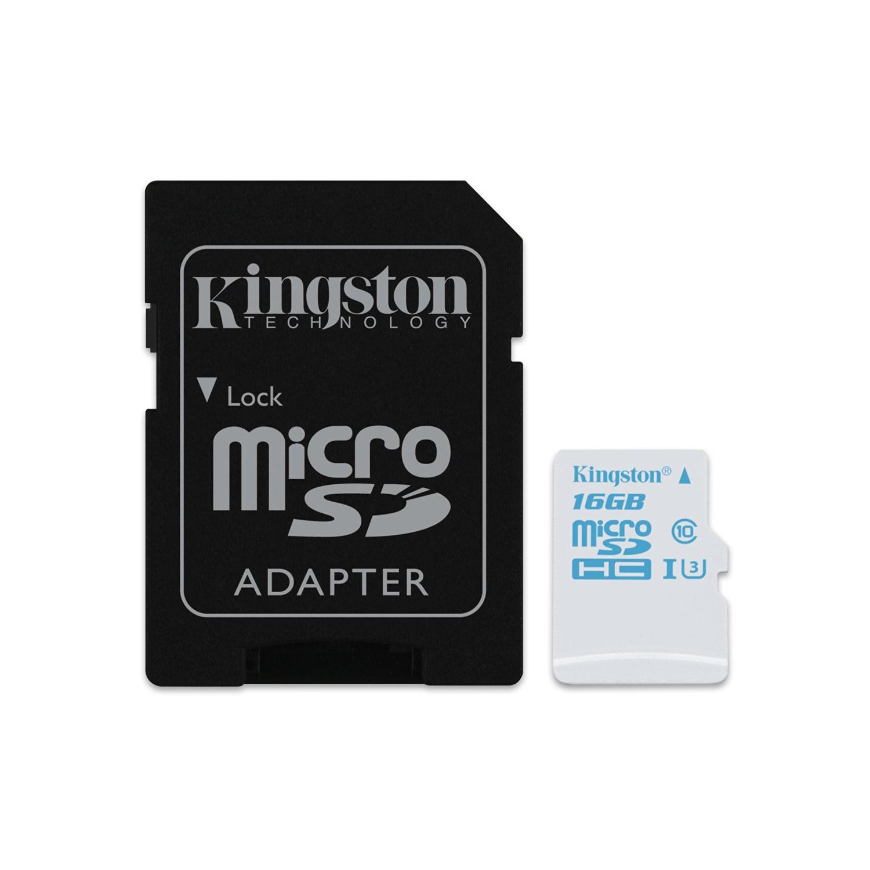 Carte mémoire Kingston SDCAC/16GB Carte mémoire microSD Action Camera UHS-I U3 avec adaptateur SD 16 Go (garantie à vie par Kingston)