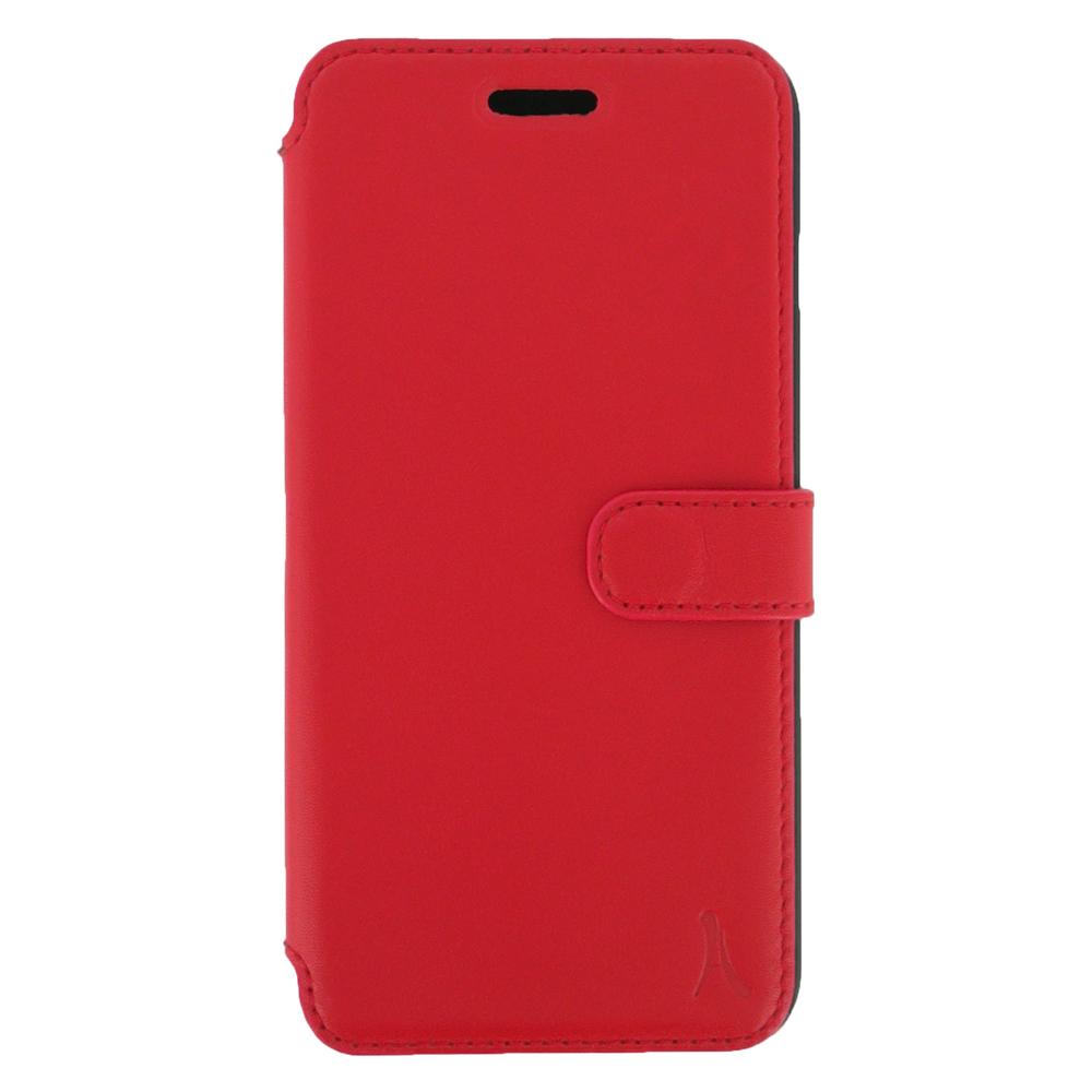 Etui téléphone Akashi Etui Folio Cuir Italien Rouge iPhone 7 Etui folio en cuir véritable pour iPhone 7