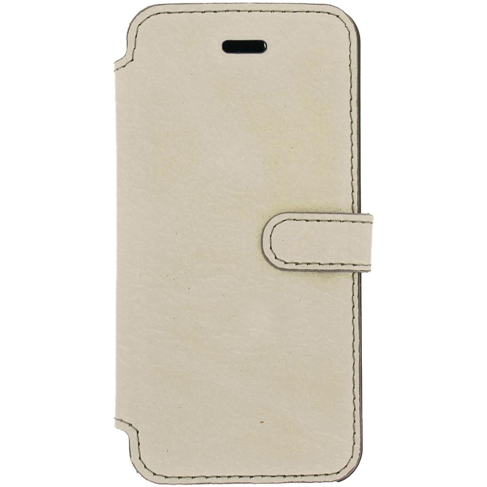 Etui téléphone Akashi Etui Folio Cuir Italien Blanc iPhone 7 Plus Etui folio en cuir véritable pour iPhone 7 Plus