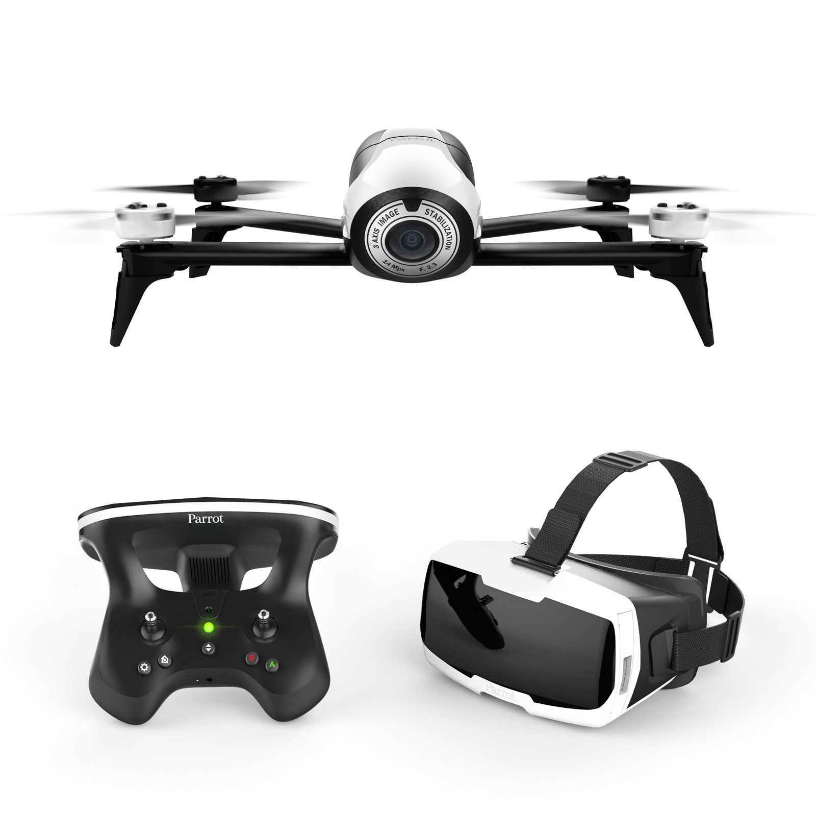 parrot bebop drone 2 blanc pack fpv drone parrot sur. Black Bedroom Furniture Sets. Home Design Ideas