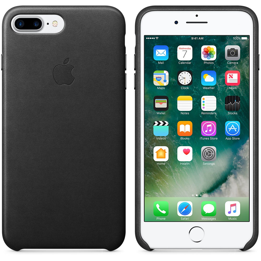 Apple Coque en cuir Noir Apple iPhone 7 Plus Coque en cuir pour Apple  iPhone 7 Plus