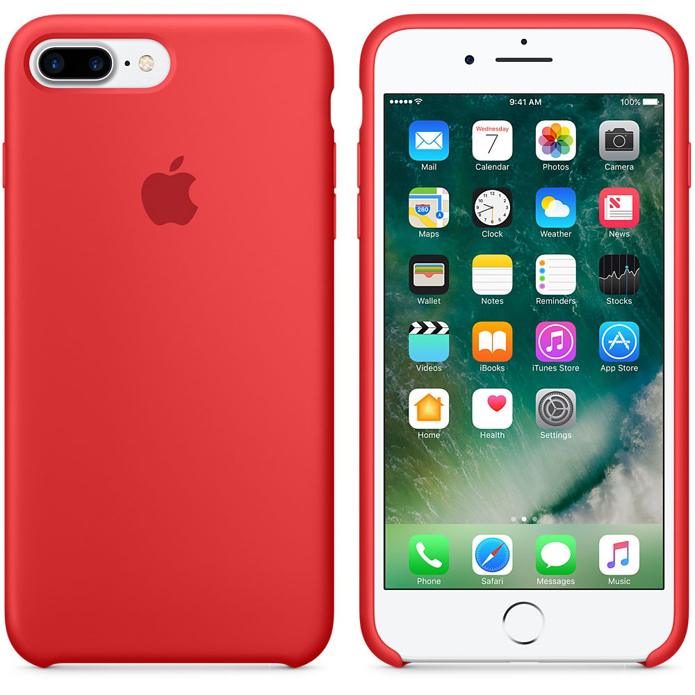 apple iphone 7 plus coque en silicone rouge