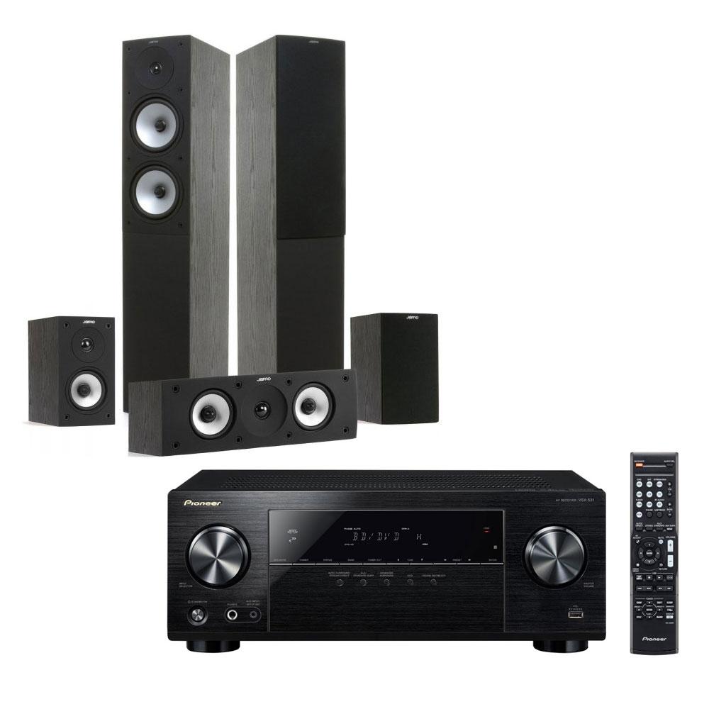 Ensemble home cinéma Pioneer VSX-531B + Jamo S 526 HCS Black Ash Ampli-tuner Home Cinéma 5.1 Bluetooth, HDCP 2.2, et Upscaling Ultra HD 4K avec 4 entrées HDMI + Pack d'enceintes 5.0