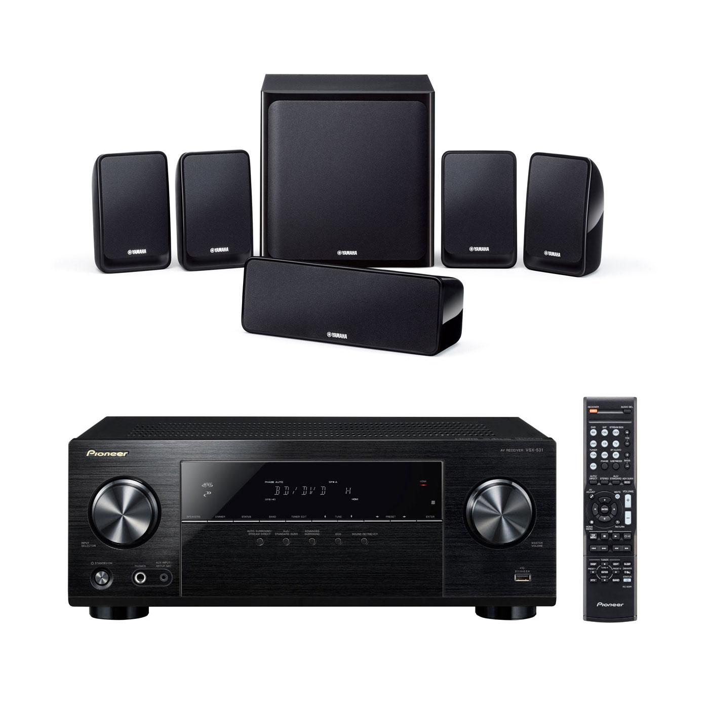 Ensemble home cinéma Pioneer VSX-531B + Yamaha NS-P20 Ampli-tuner Home Cinéma 5.1 Bluetooth, HDCP 2.2, et Upscaling Ultra HD 4K avec 4 entrées HDMI + Pack d'enceintes 5.1