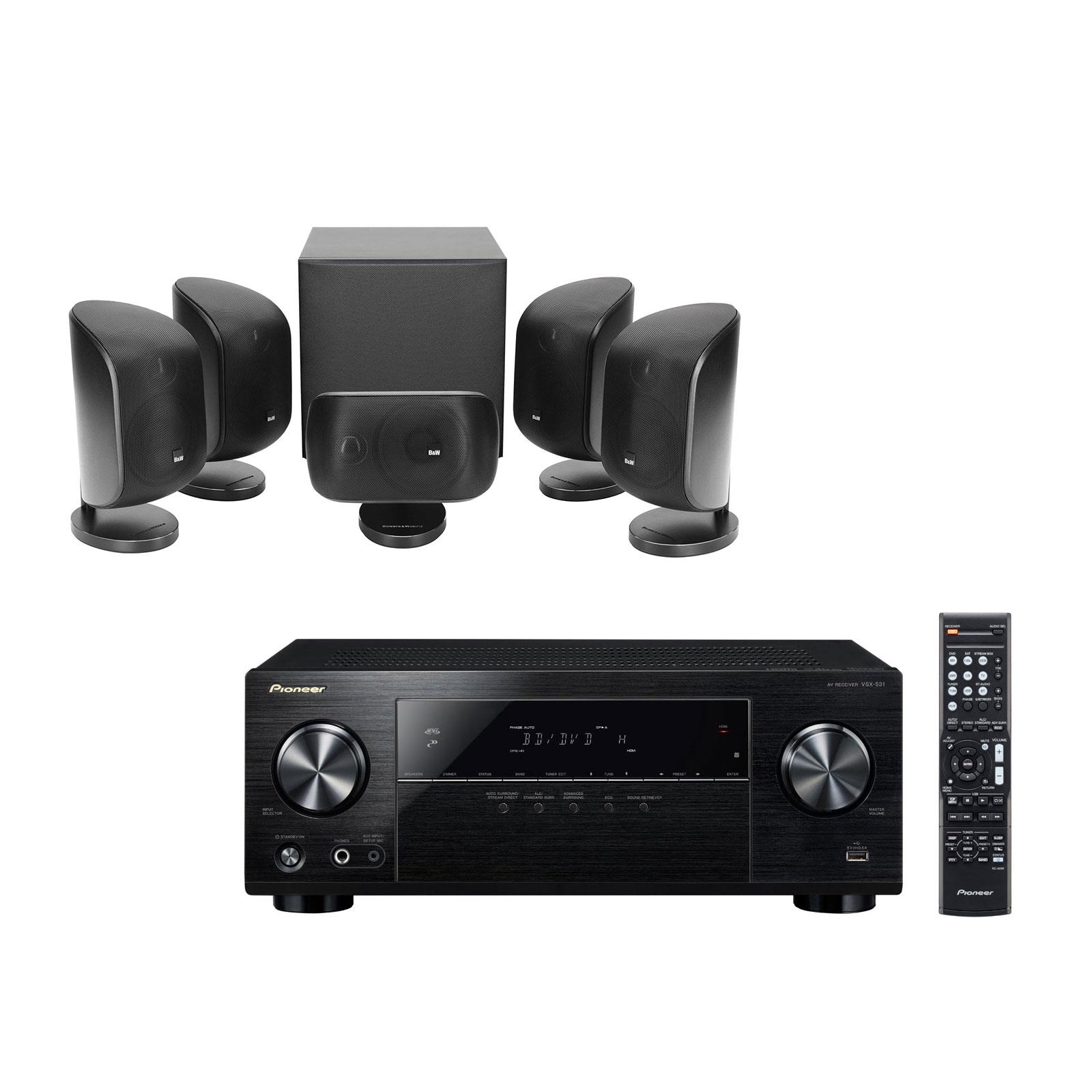 Ensemble home cinéma Pioneer VSX-531B + B&W MT-50 Noir Ampli-tuner Home Cinéma 5.1 Bluetooth, HDCP 2.2, et Upscaling Ultra HD 4K avec 4 entrées HDMI + Pack d'enceintes compactes 5.1 avec caisson de graves