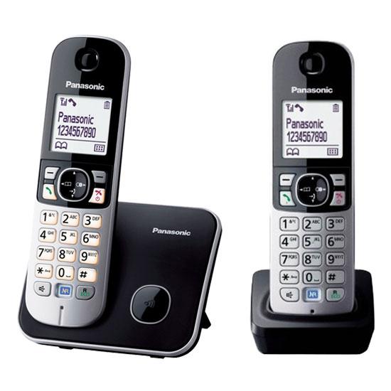 Téléphone sans fil Panasonic KX-TG6812FR Duo Noir Téléphone DECT sans fil avec combiné supplémentaire (version française)