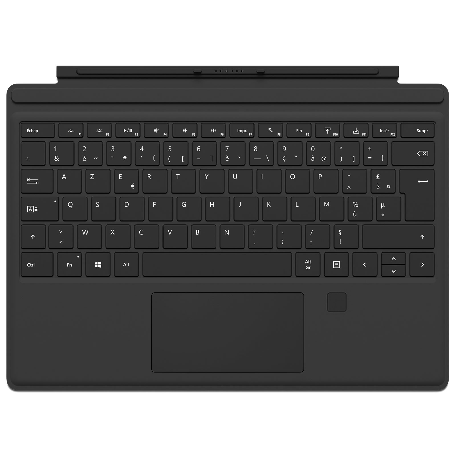 microsoft type cover surface pro 4 touch id noir accessoires pc portable microsoft sur. Black Bedroom Furniture Sets. Home Design Ideas