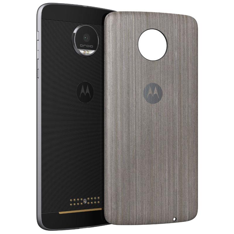 Etui téléphone Motorola Mods Coque Bois Argent Moto Z/Z Play Coque en bois  avec