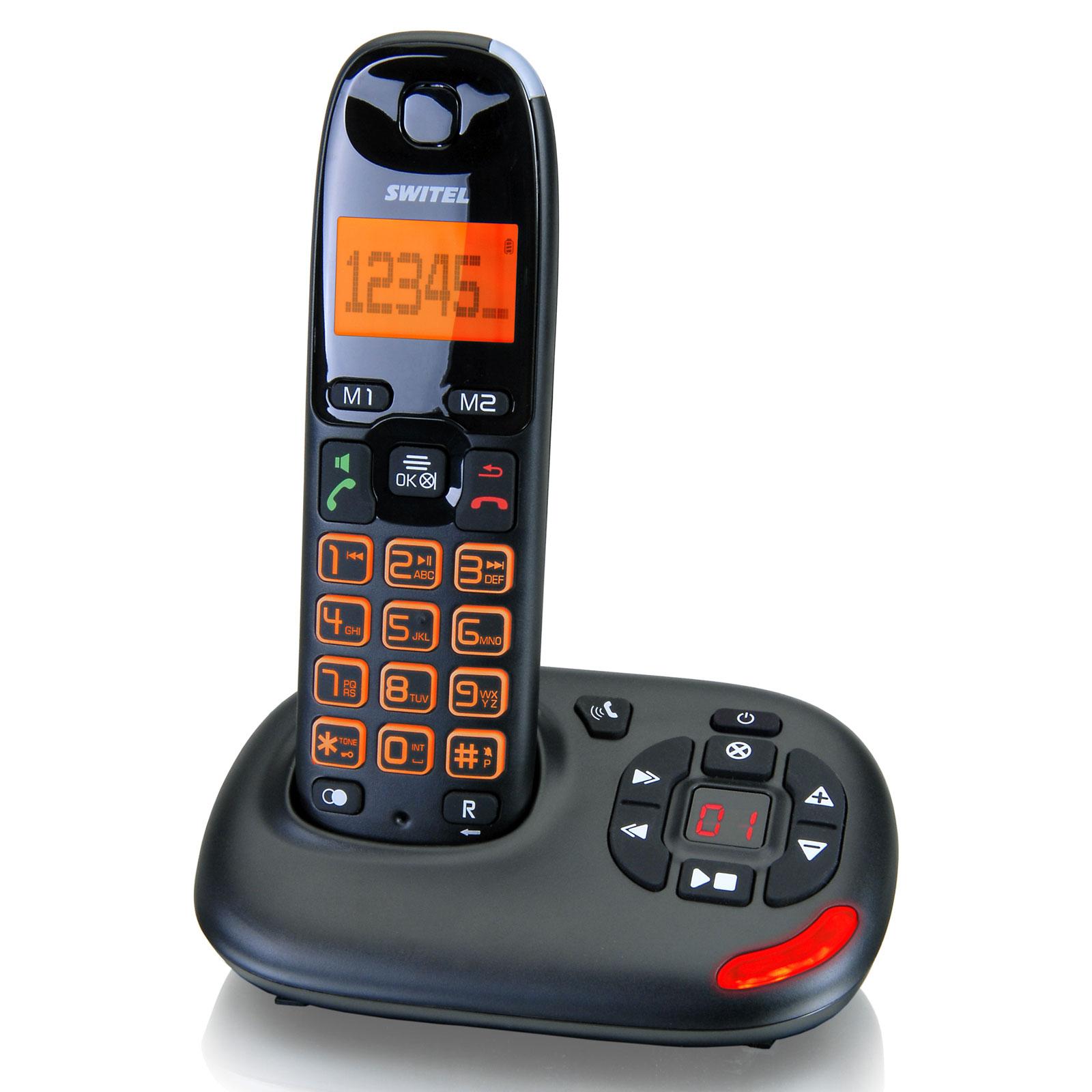 Téléphone sans fil Switel DCT 50071 Vita Téléphone DECT sans fil amplifié avec répondeur - Touches et écran XL (version française)