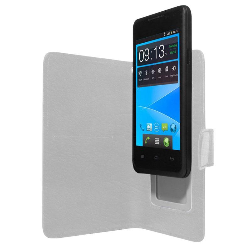 "Etui téléphone Akashi Etui Universel Blanc 4/4.5"" Etui folio en simili cuir pour smartphone 4/4.5"""