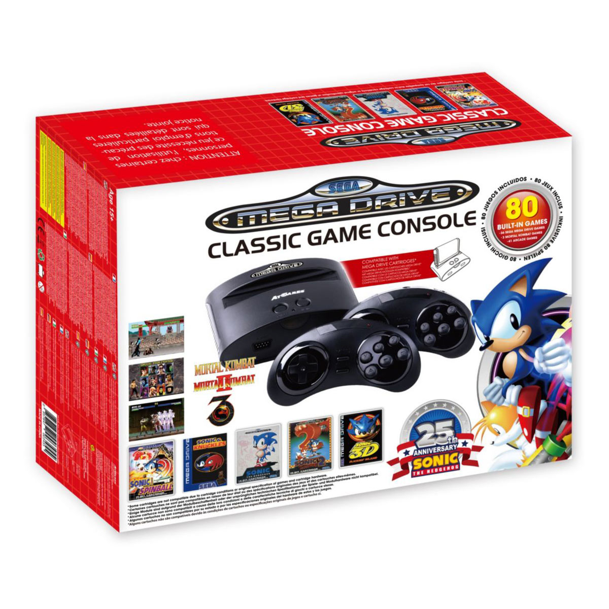 Petites consoles SEGA Megadrive Classic Game Console Console de salon SEGA Megadrive + 2 manettes sans fil + 80 jeux