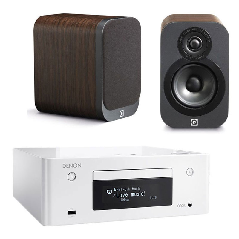 denon ceol n9 blanc q acoustics 3010 bois cha ne hifi denon sur. Black Bedroom Furniture Sets. Home Design Ideas
