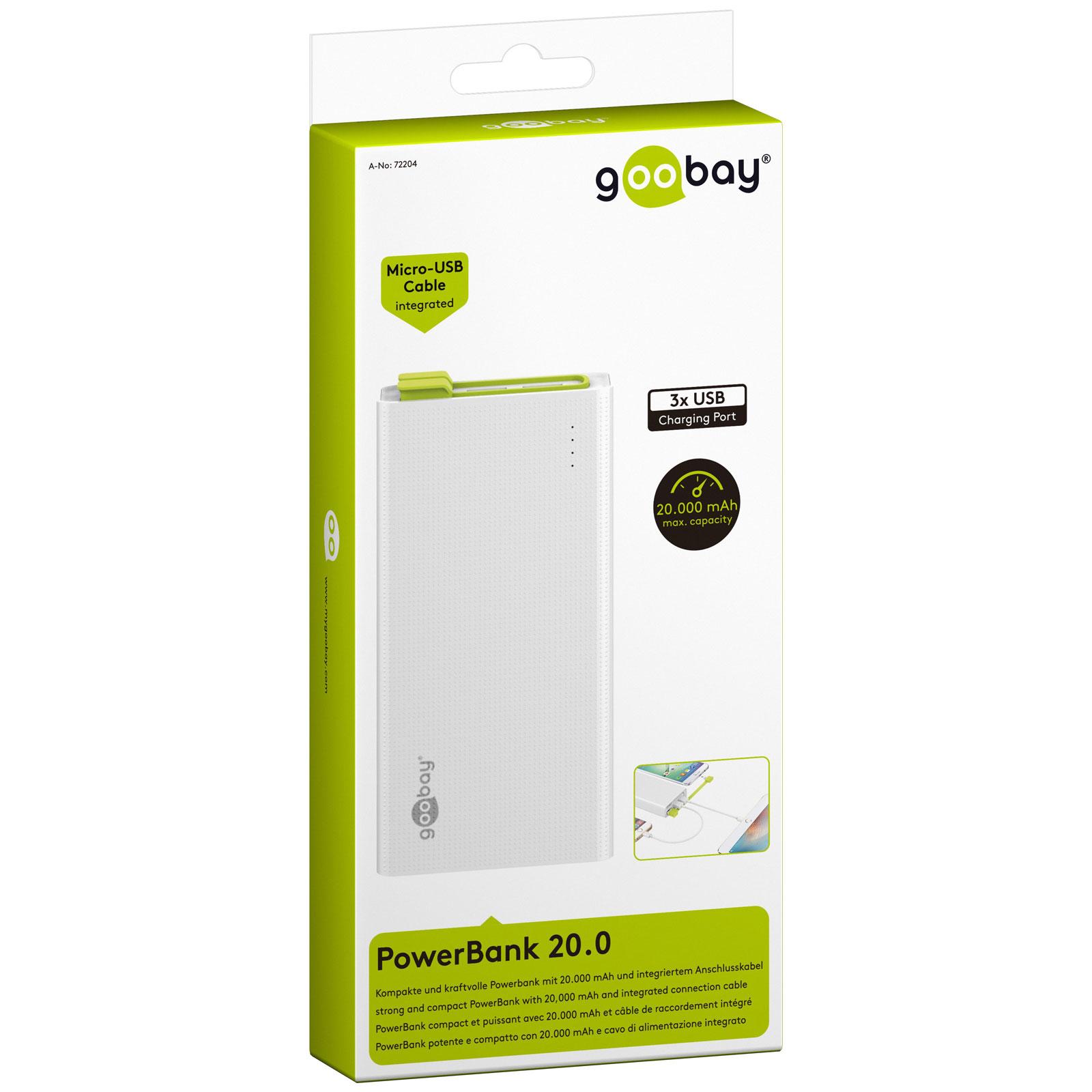 goobay powerbank 20 0 batterie t l phone goobay sur. Black Bedroom Furniture Sets. Home Design Ideas