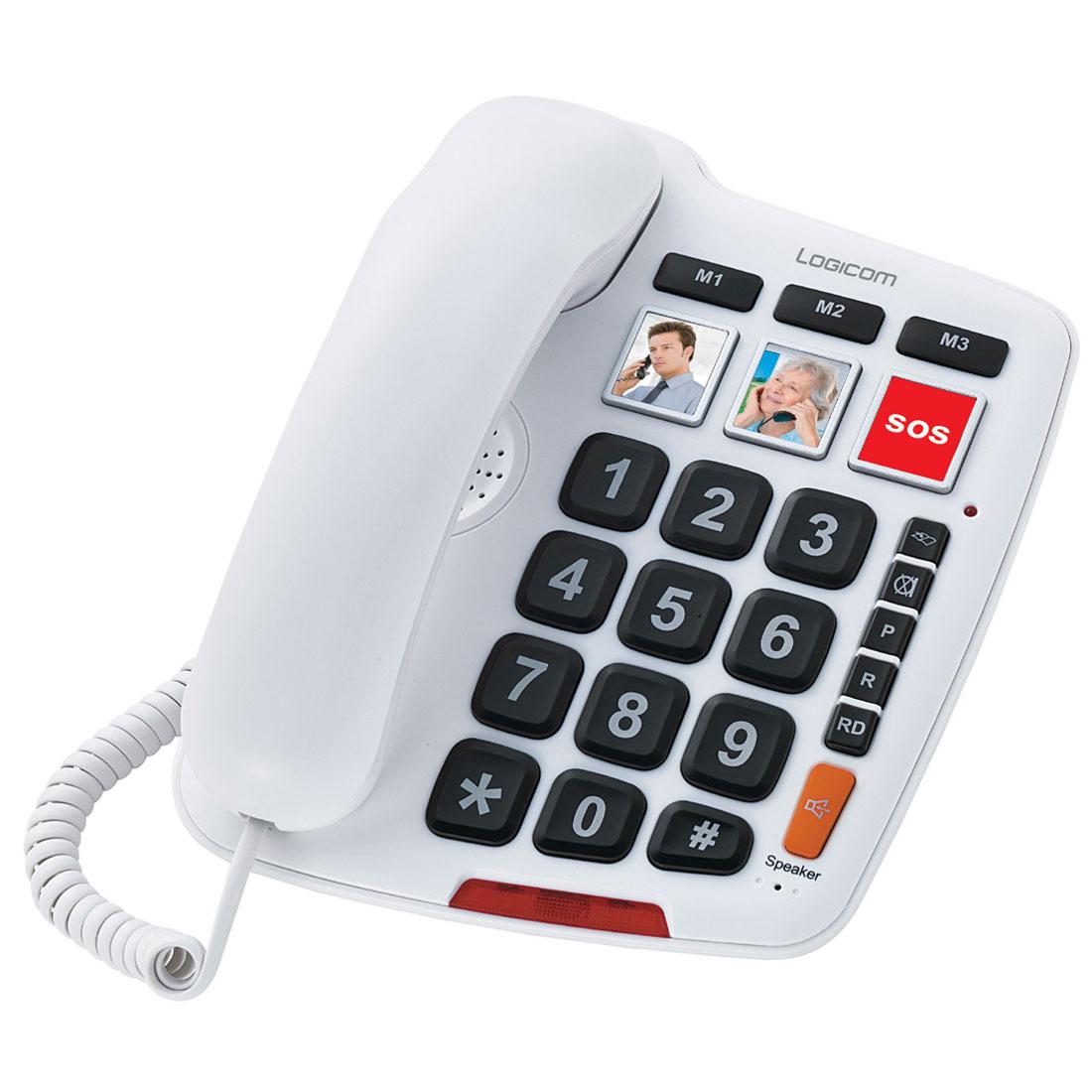 Téléphone filaire Logicom Serenity 150 Téléphone filaire senior à grosses touches