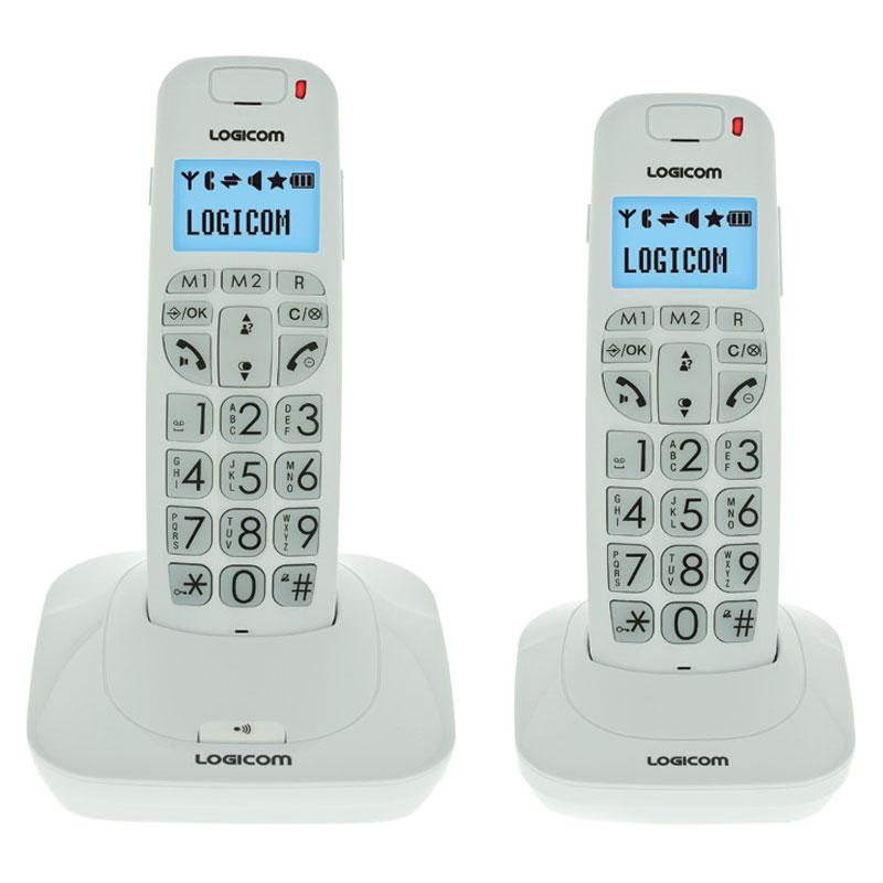 Téléphone sans fil Logicom Confort 250 Blanc Téléphone DECT sans fil pour senior avec haut parleur et combiné supplémentaire (version française)