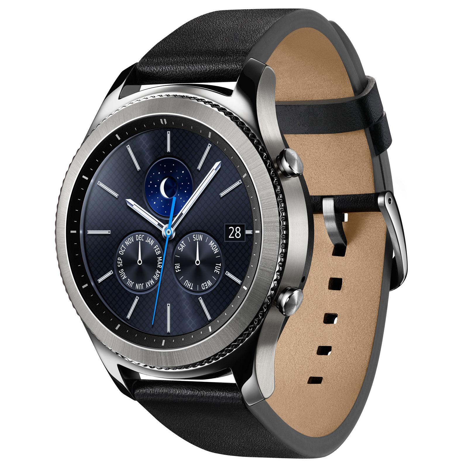 Montre \u0026 Bracelets connectés Samsung Gear S3 Classic Argent Montre  connectée certifiée IP68 avec écran Super