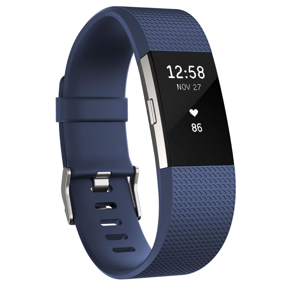 Bracelet connecté FitBit Charge 2 Bleu S Coach électronique sans fil résistant aux éclaboussures pour smartphone iOS & Android (Taille S)