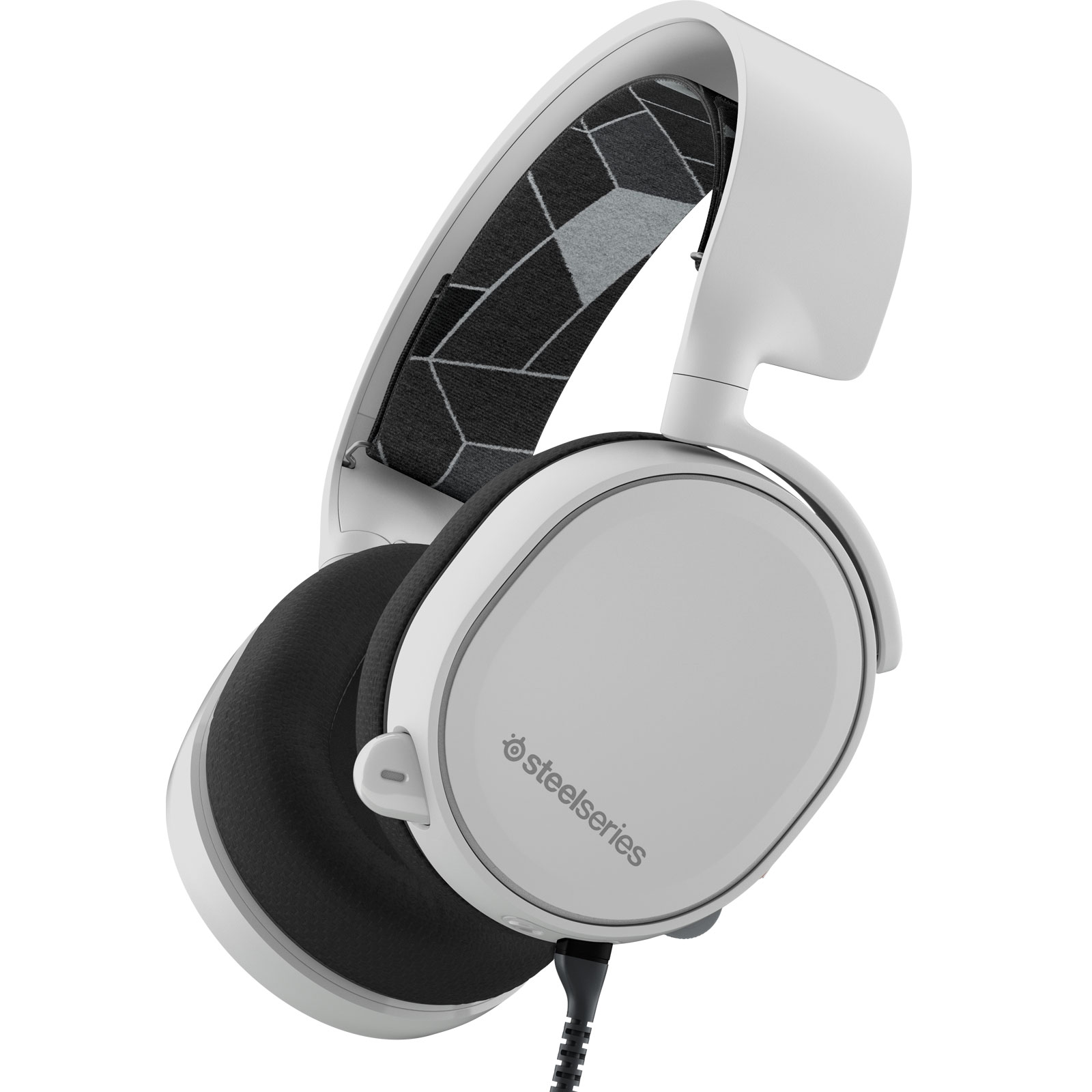 Micro-casque SteelSeries Arctis 3 (blanc) Casque gaming - Circum-aural fermé - Son Surround 7.1 - Microphone unidirectionnel rétractable avec suppression du bruit - Jack - Compatible PC/Mac/VR/Mobiles et consoles