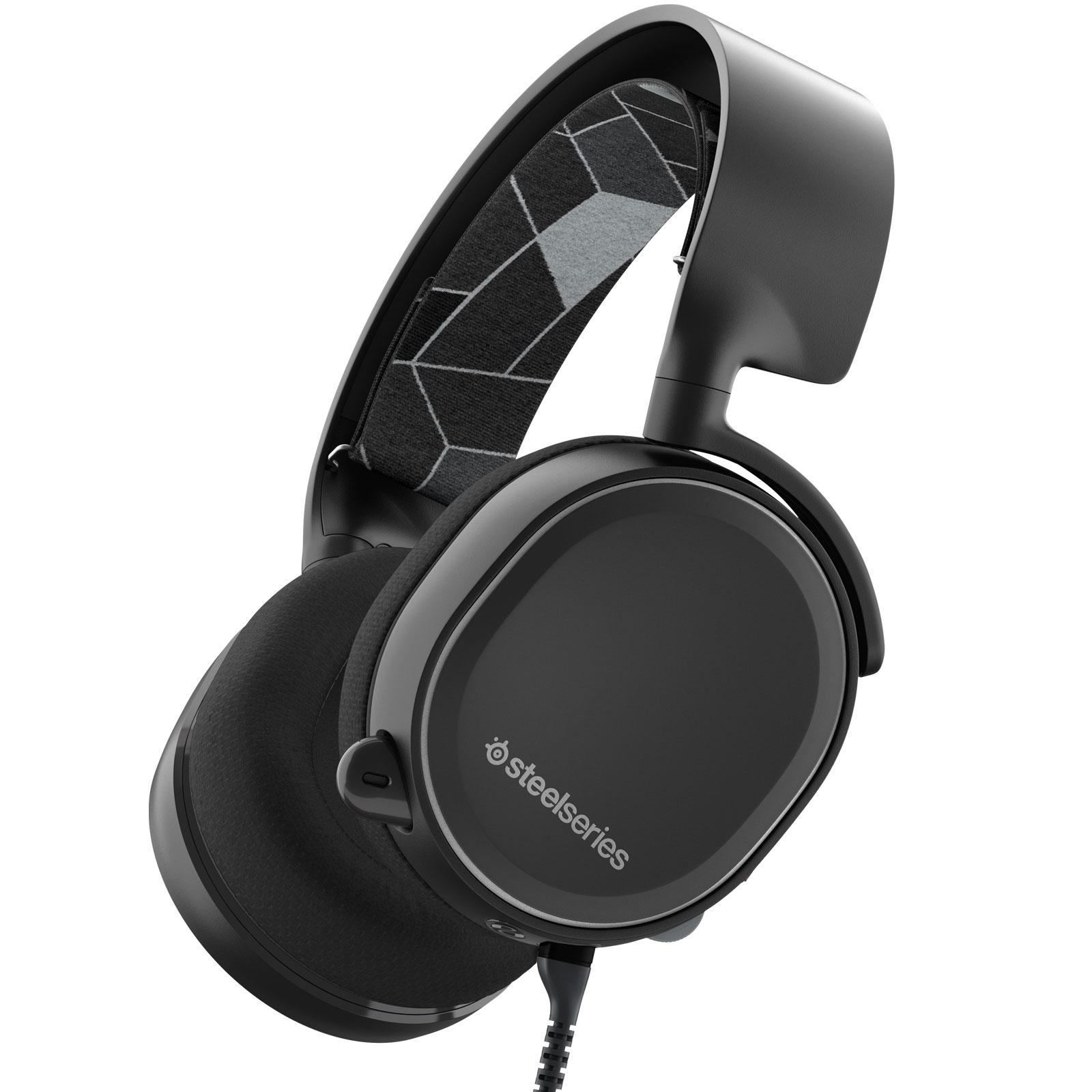Micro-casque SteelSeries Arctis 3 (noir) Casque gaming - Circum-aural fermé - Son Surround 7.1 - Microphone unidirectionnel rétractable avec suppression du bruit - Jack - Compatible PC/Mac/VR/Mobiles et consoles