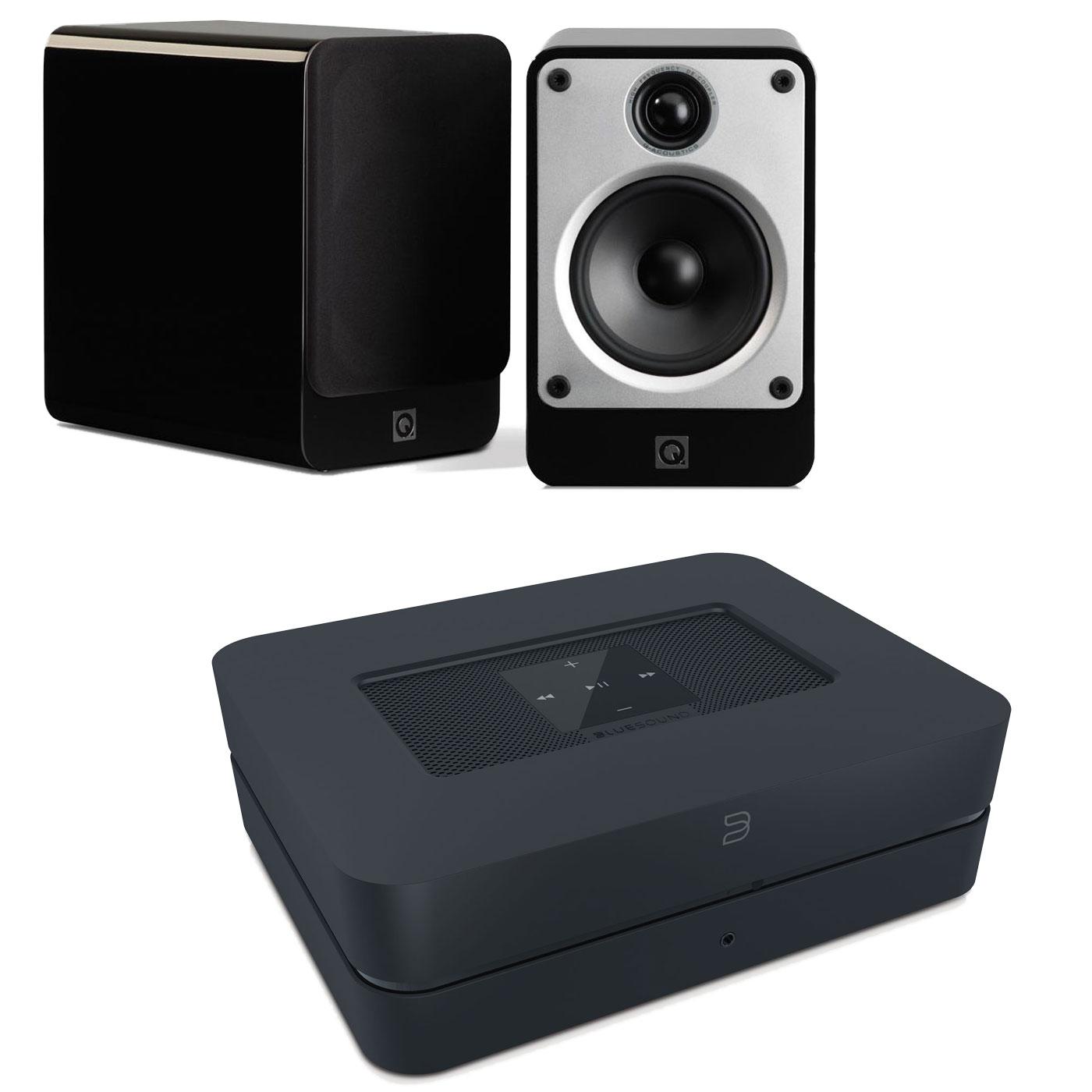 Ensemble Hifi Bluesound Powernode 2 Noir + Q Acoustics Concept 20 Noir Amplificateur lecteur réseau multiroom DAC avec Wi-Fi et Bluetooth compatible Hi-Res Audio 2 x 60 W + Enceinte bibliothèque compacte (par paire)