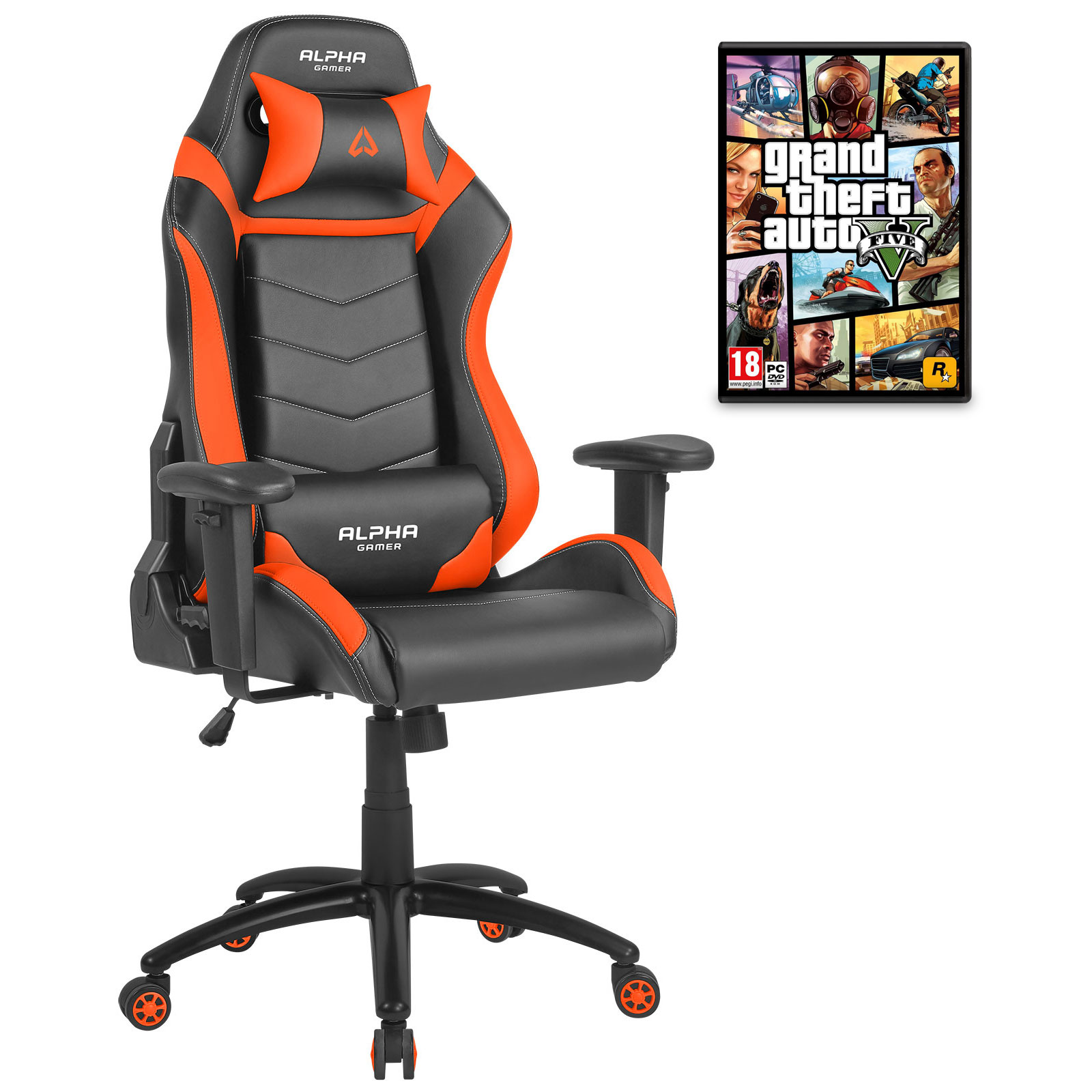 alpha gamer gamma orange jeu gta v offert fauteuil gamer alpha gamer sur. Black Bedroom Furniture Sets. Home Design Ideas