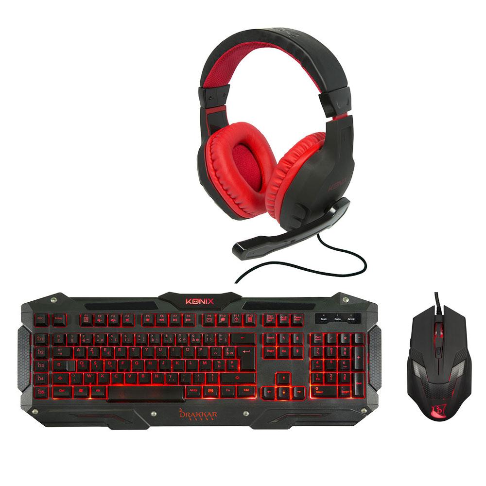 konix drakkar starter trio gaming pack pack clavier. Black Bedroom Furniture Sets. Home Design Ideas