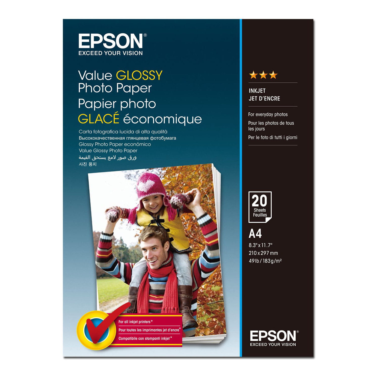 epson value glossy a4 c13s400035 papier imprimante. Black Bedroom Furniture Sets. Home Design Ideas