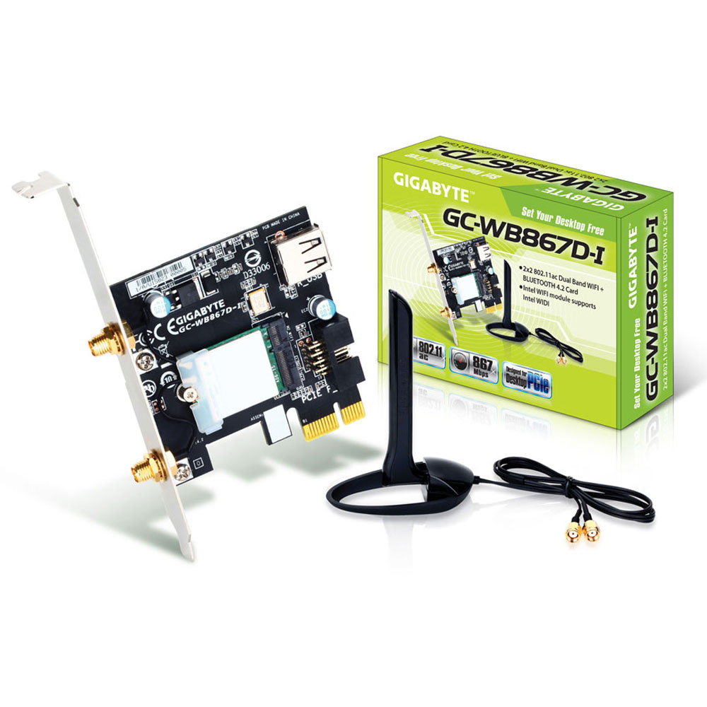 Carte réseau Gigabyte GC-WB867D-I Carte PCI-Express sans fil Wi-Fi AC 867 Mbps + Bluetooth 4.2