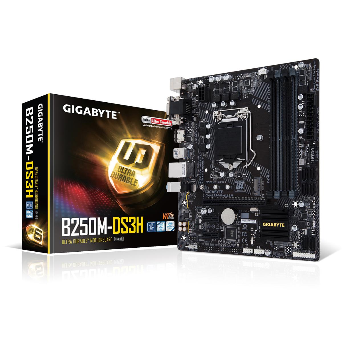 Carte mère Gigabyte GA-B250M-DS3H Carte mère Micro ATX Socket 1151 Intel B250 Express - 4x DDR4 - SATA 6Gb/s + M.2 - USB 3.0 - 1x PCI-Express 3.0 16x