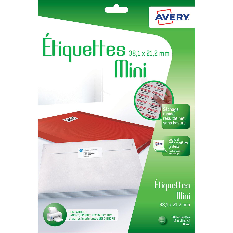 Avery Mini Tiquettes Autocollantes 381 X 212 Mm 780 Boite De Blanches