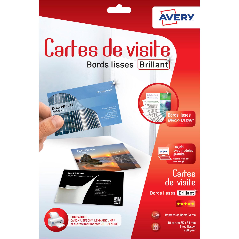 Avery QuickClean 40 Cartes De Visite 85 X 54 Mm 85x54mm Bords Lisses Recto Brillant Verso Mat Jet DEncre 240g M