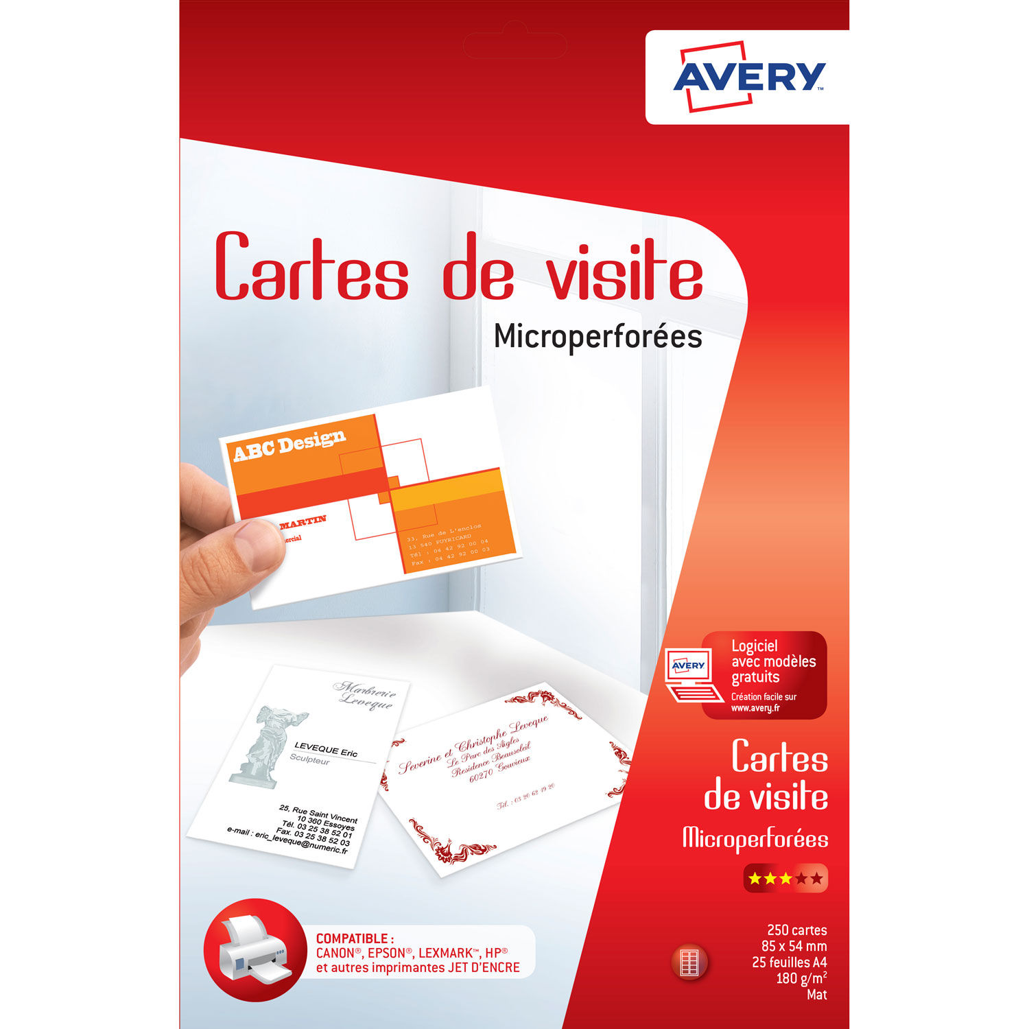 Avery 100 Cartes De Visite Microperforees 185g Blanc Mat