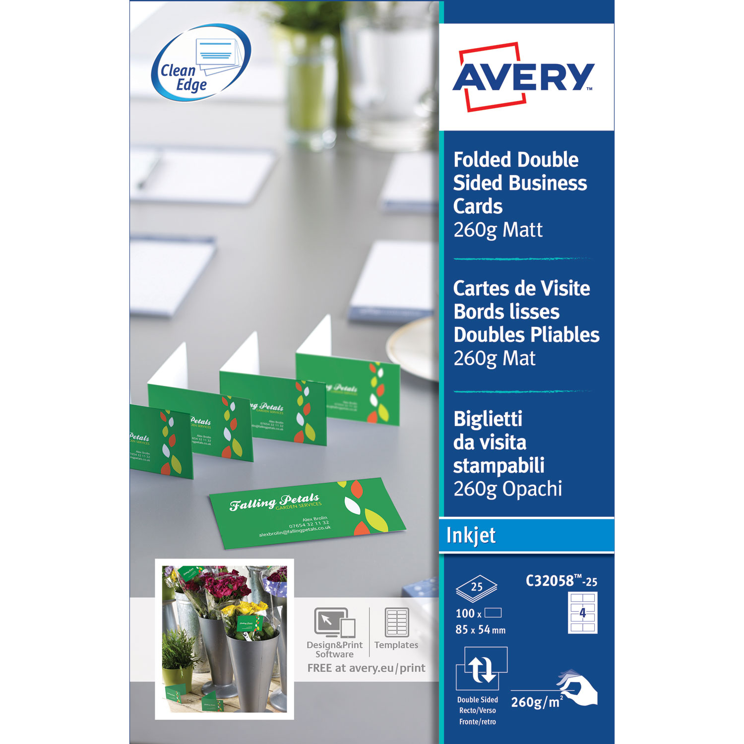 Avery QuickClean 100 Cartes De Visite 85 X 54 Mm C32058 25