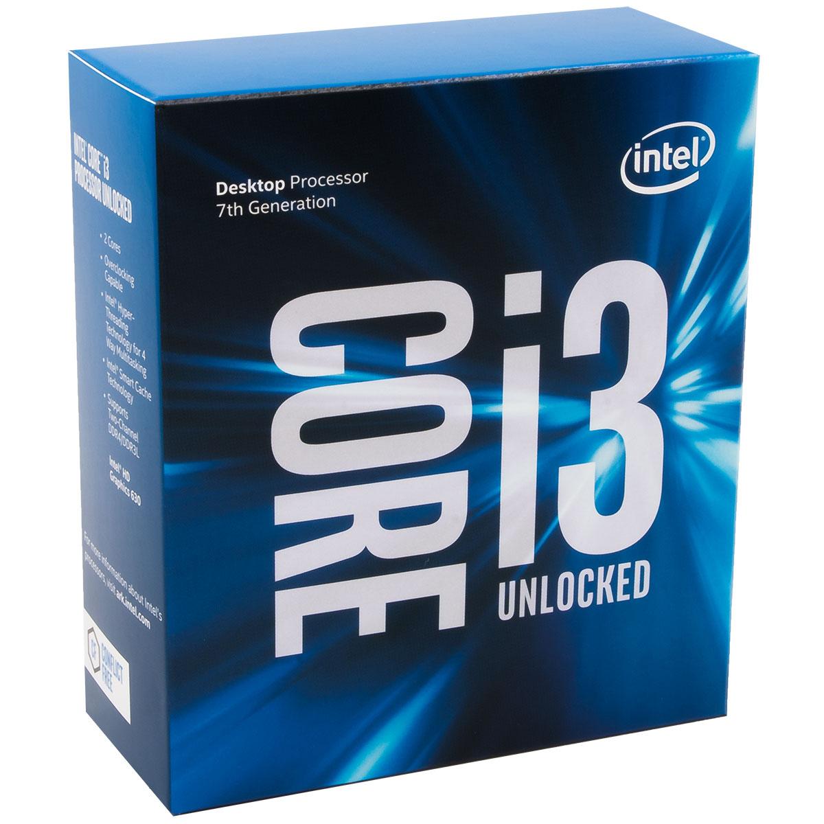 Processeur Intel Core i3-7350K (4.2 GHz) Processeur Dual Core Socket 1151 Cache L3 4 Mo Intel HD Graphics 630 0.014 micron (version boîte sans ventilateur - garantie Intel 3 ans)