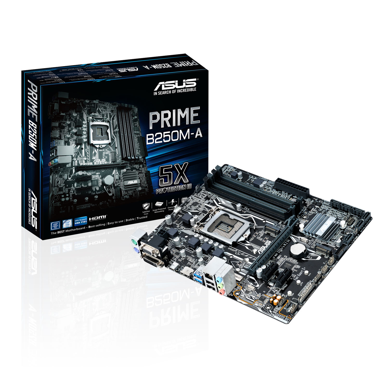 Carte mère ASUS PRIME B250M-A Carte mère Micro ATX Socket 1151 Intel B250 Express - 4x DDR4 - SATA 6Gb/s + M.2 - USB 3.0 - 1x PCI-Express 3.0 16x