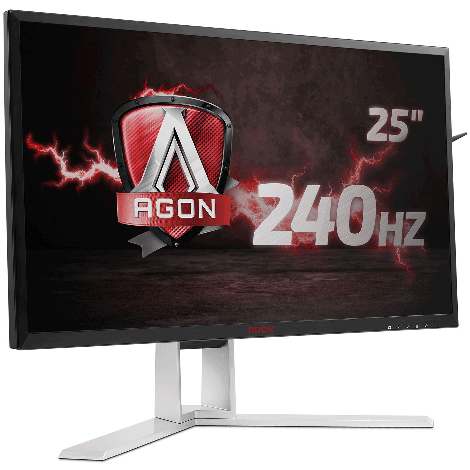 """Ecran PC AOC 24.5"""" LED - AGON AG251FZ 1920 x 1080 pixels - 1 ms (gris à gris) - Format large 16/9 - 240 Hz - DisplayPort - HDMI - Pivot - MHL - Hub USB 3.0 - Noir/Argent/Rouge"""
