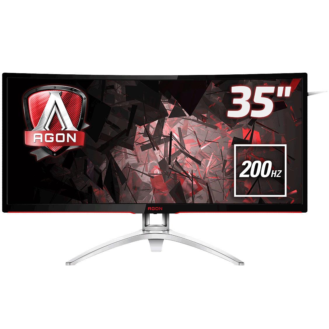 """Ecran PC AOC 35"""" LED - AGON AG352QCX 2560 x 1080 pixels - 4 ms (gris à gris) - Format large 21/9 - Dalle MVA incurvée - 200 Hz - DisplayPort - HDMI - Adaptive-Sync - MHL - Hub USB 3.0 - Noir/Argent"""