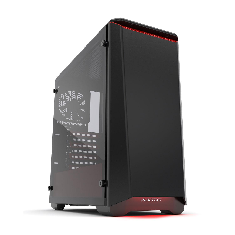 Boîtier PC Phanteks Eclipse P400S Tempered Glass Special Edition (Rouge) Boîtier moyen tour silencieux à rétroéclairage multicolore RGB avec fenêtre latérale en verre trempé