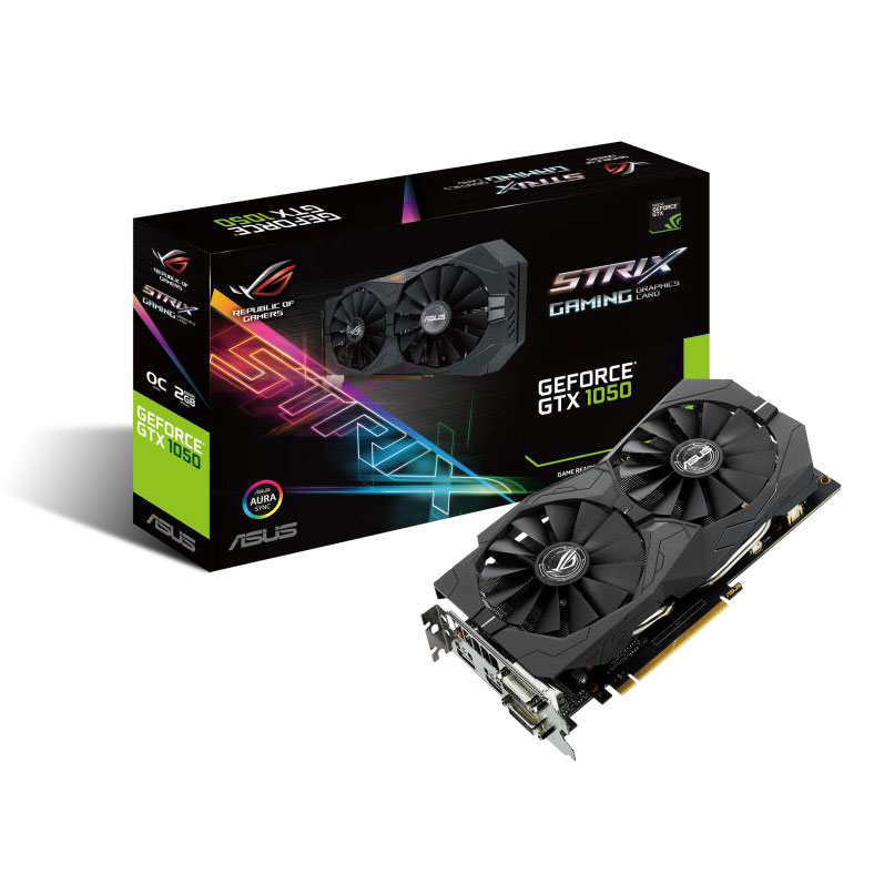 Carte graphique ASUS GeForce GTX 1050 - ROG STRIX-GTX1050-O2G-GAMING 2048 Mo Dual DVI/HDMI/DisplayPort - PCI Express (NVIDIA GeForce avec CUDA GTX 1050)
