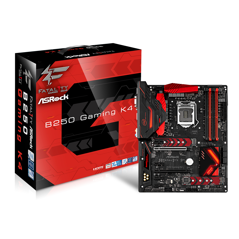 Carte mère ASRock B250 Gaming K4 Carte mère ATX Socket 1151 Intel B250 Express - 4x DDR4 - SATA 6Gb/s + M.2 - USB 3.0 - 2 x PCI-Express 3.0 16x - LED RGB