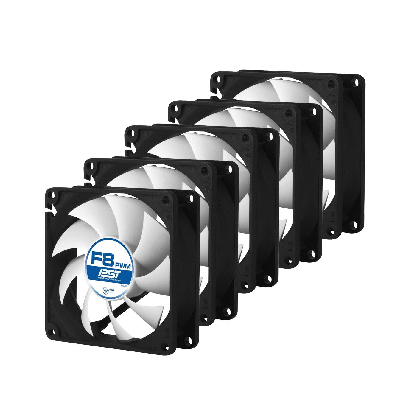 Ventilateur boîtier Arctic F8 PWM PST Value Pack Ventilateur de boîtier 80 mm thermorégulé avec système PST (lot de 5)