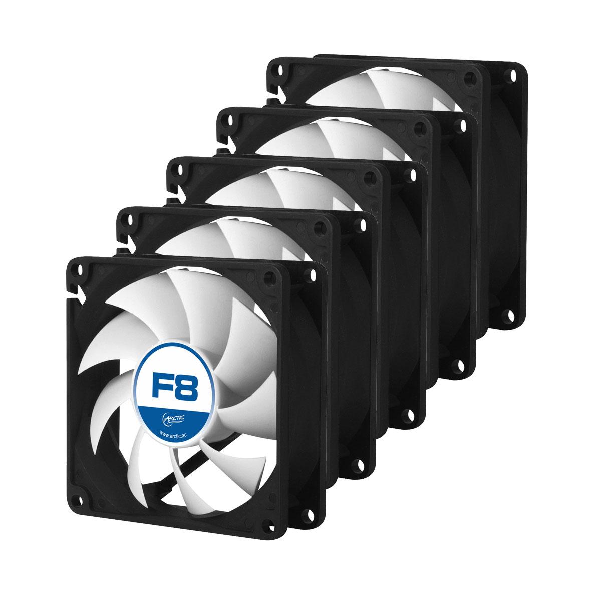 Ventilateur boîtier Arctic F8 Value Pack Ventilateur de boîtier 80 mm (Lot de 5)