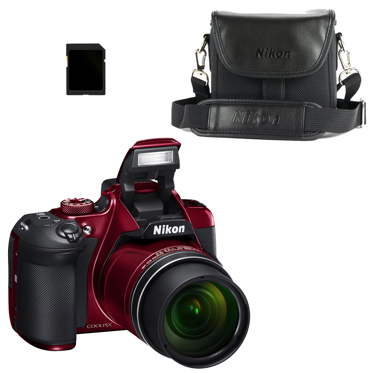 Nikon Coolpix B700 Rouge + CS-P08 + Carte SDHC 8 Go ...
