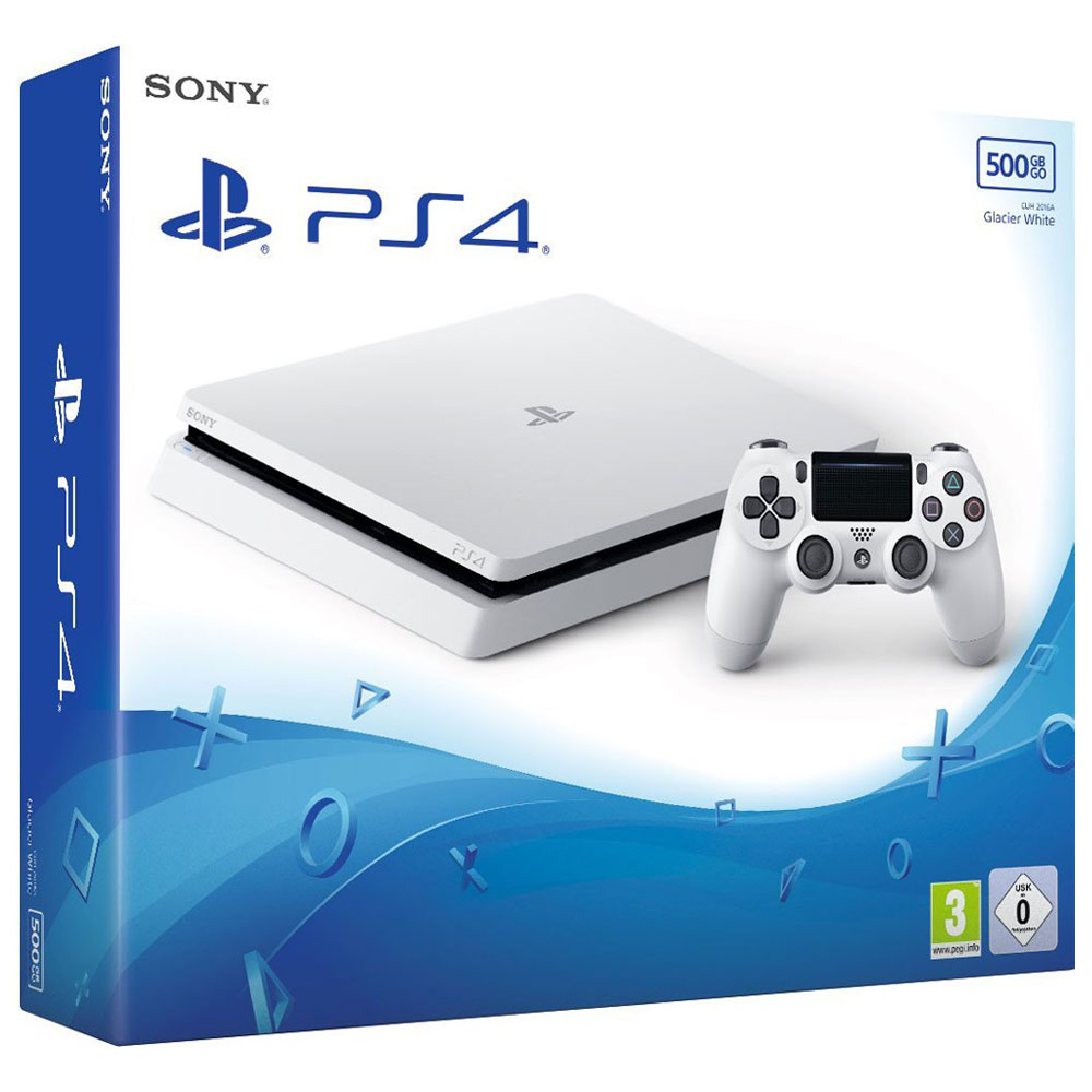sony playstation 4 slim 500 go glacier white console. Black Bedroom Furniture Sets. Home Design Ideas
