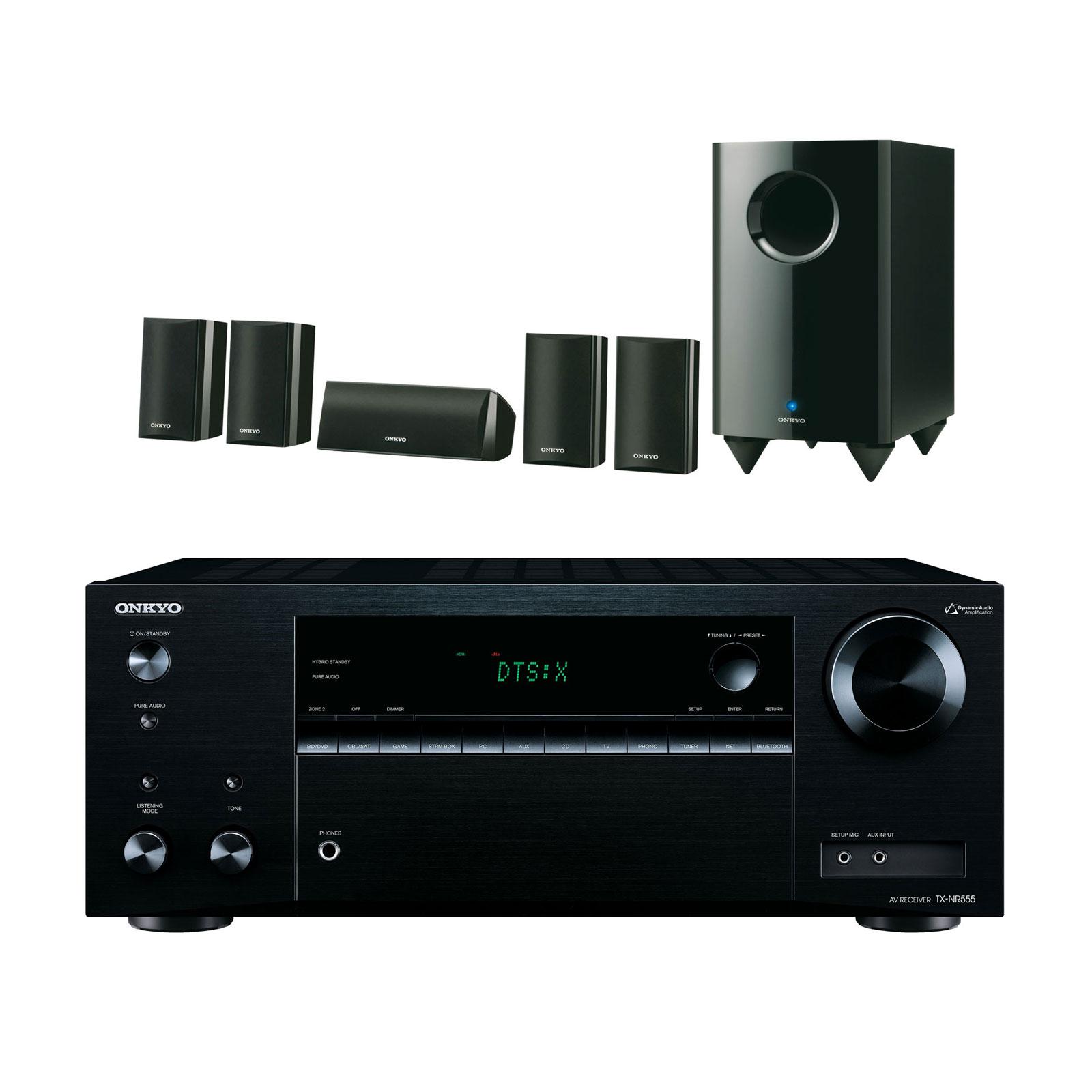 Ensemble home cinéma Onkyo TX-NR555 Noir + SKS-HT528 Ampli-tuner Home Cinéma 7.2 3D Ready Wi-Fi, Bluetooth, AirPlay avec HDMI 4K, DAC AKM, DTS:X et Dolby Atmos + Pack d'enceintes 5.1
