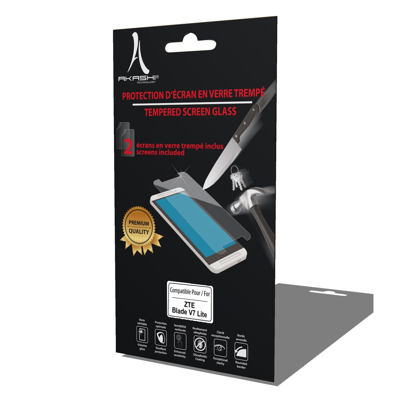 Film protecteur téléphone Akashi Verre Trempé Premium Blade V7 Lite Lot de 2 films de protection d'écran en verre trempé pour ZTE Blade V7 Lite