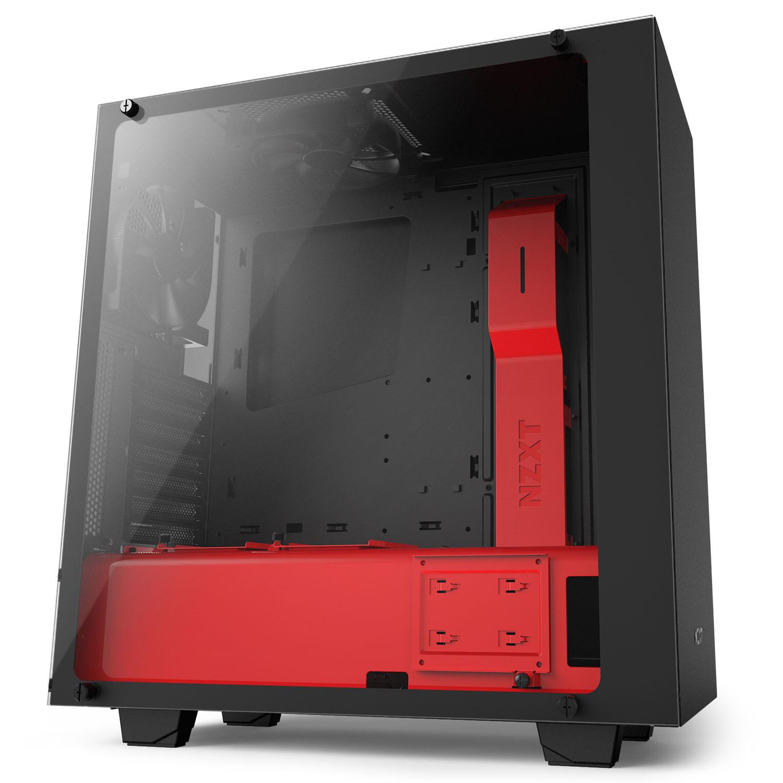 nzxt s340 elite noir rouge bo tier pc nzxt sur. Black Bedroom Furniture Sets. Home Design Ideas